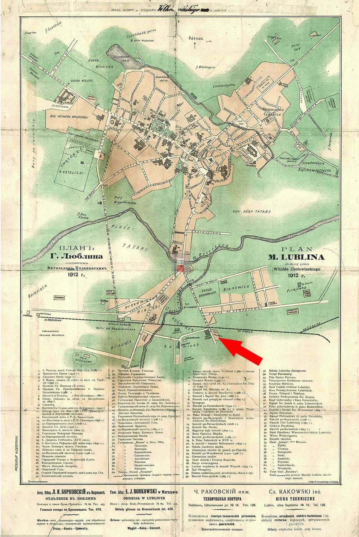 plan Lublina sporządzony przez Witolda Cholewińskiego w 1912 roku