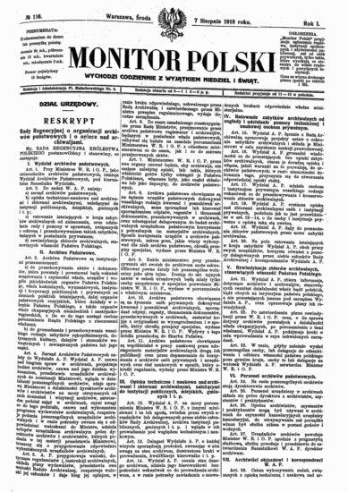 """,Monitor Polski"""" z opublikowaną treścią reskryptu Rady Regencyjnej z 31 VII 1918 r. (źródło: SG BUW)"""