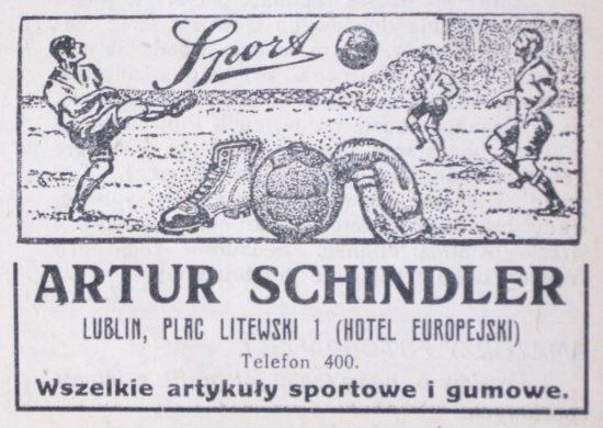 """Reklamy prasowe firm lubelskich zamieszczane w """"Lubelskim Tygodniku Sportowym"""" w roku 1924, fot. Ewa Zielińska"""